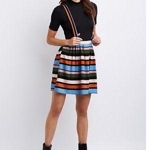Dresses & Skirts - Charlotte Russe NWT striped suspender skirt medium